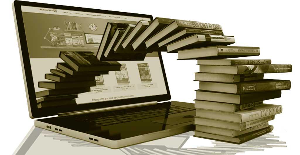 libros saliendo ordenador