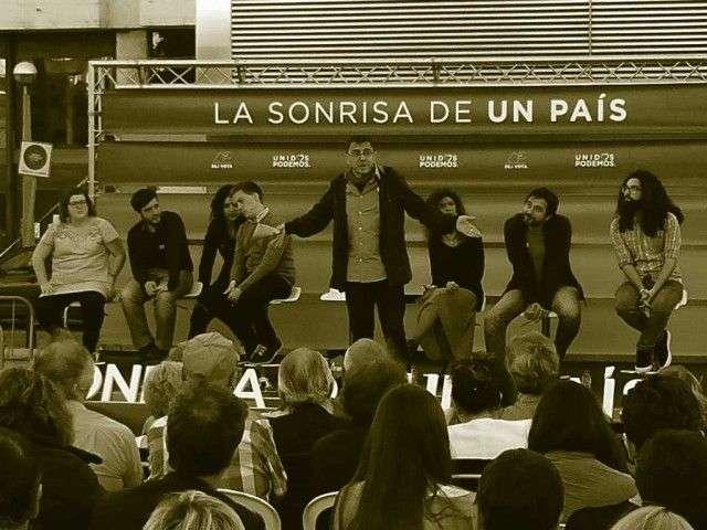 mitin de PODEMOS en Santander con Monedero